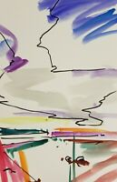 JOSE TRUJILLO - American ORIGINAL Watercolor Painting ABSTRACT Marsh - 6X9""