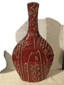 Mosaic Style Pottery vase with long neck, Retro Deco Design