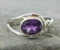 925 Silver Purple AMETHYST Ring Sz P,Q R158~Silverwave*uk Jewellery