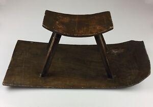 Antique Hand Made Wood Concave Rocking Stool Sliding Sled Vtg Wooden Primitive