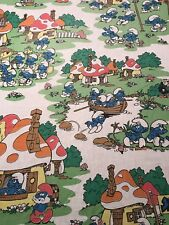 The Smurfs Twin Fitted Sheet Pink Bed Sheet 80s Peyo Vintage Gargamel