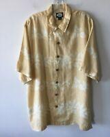 Tommy Bahama Butterscotch Floral Print Shirt Linen Men's Medium M New