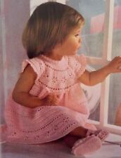 44BCF Beautiful Crochet Pattern - Baby Girls Party Dress & Shoes 3 months - 2yrs