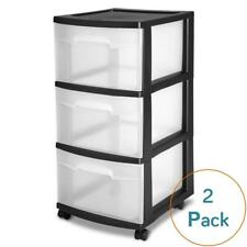 STERILITE 3-DRAWER CART, BLACK 2-PACK