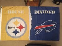 PITTSBURGH STEELERS vs BUFFALO BILLS 3x5 FEET Flag Banner HOUSE DIVIDED NFL NEW