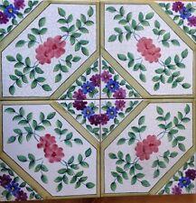 4 Pezzi Piastrelle 20x20 Decorate A Mano Con Smalti Anticati ceramica Vietri
