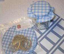 JAM Covers  x20 sky blue gingham PACK includes sticky jar labels & bands x 20