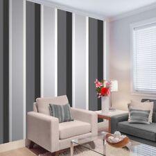 Stripe Wallpaper Bold Charcoal Grey/Black/White/Silver Luxury Modern