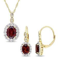 Amour 14k Yellow Gold Garnet White Topaz & Dia. Halo Necklace & Earrings Set