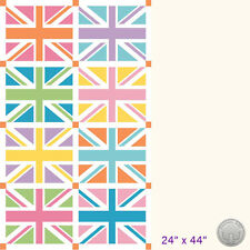 "Riley Blake Union Jack Flag 24"" Panel Orange Fabric Great Britain London Pastels"