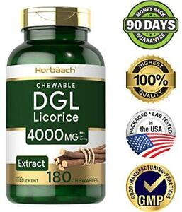 DGL LIRORICE ROOT EXTRACT 4000 mg 180 Chewable Tablets Vegetarian Digestive Aid