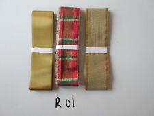 R01 LAVORO LOTTO 3 NASTRI DI NATALE, colori oro e tartan