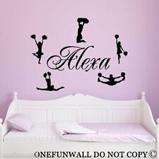 Cheerleaders Wall Decal & Personalized Name 5 Vinyl Sticker Sports Decor
