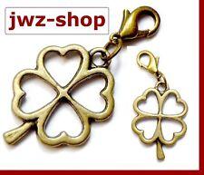 Charm Anhänger alt- gold bronze > Klee Kleeblatt Glücksklee