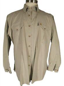 Beretta Mens Tan Long Sleeve Canvas Hunting Shirt L
