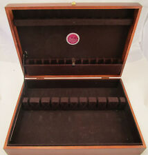 Vintage Naken's Wood Art Deco Silverware Flatware Storage Box Chest Brown