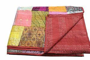 Indian Throw Blanket Handmade Quilt Vintage Patchwork Kantha Bedspread Bed Cover
