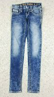 NEW Rock Revival Women's Indi Ankle Skinny Distressed Wash Blue Jeans Sz 24 NWT