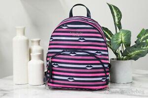 Kate Spade Karissa Nylon Lip Print Medium Pink Stripe Multi Backpack Book Bag