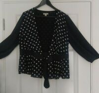Whistles Ladies Black Polka Dots  Long Sleeves Sheer Blouse UK Size 14