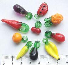 10 X Diversi frutti e verdure. vetro di Murano Vetro Perline/Ciondoli 12/31 mm 16gms 28