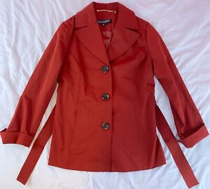 Ellen Tracy Ruby Red Mini Trench Coat with Matching Belt Size Womens Small NWOT