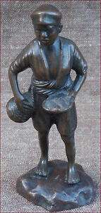 Vietnamese Bronze Young Fishmonger Fisher Statue French Indochina Early 20th C
