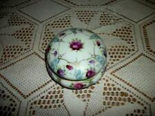 1920's VINTAGE PORCELAIN POWDER BOX JAR HP ROSES JAPAN CHIC SHABBY ART DECO ERA