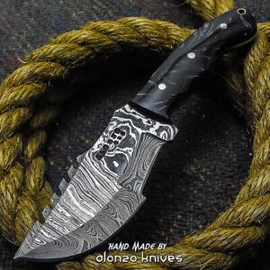 ALONZO USA CUSTOM HANDMADE DAMASCUS   BUSHCRAFT TRACKER KNIFE CORELON 24254