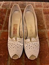 Vintage 1940s Womens White Leather Shoes Lesters Shoes Roswell Nm 8.5 Narrow