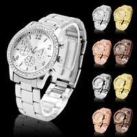 Fashion Ladies Women Crystal Diamond Dial Stainless Steel Quartz Wrist Watch PS