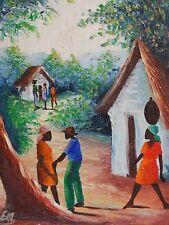 unleserlich signiert - etwas NAIVES Gemälde: DORF AUF HAITI - ARBEITS ALLTAG