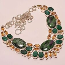 RUBY ZOISITE & EMERALD WITH CHAMPAGNE TOPAZ .925 SILVER JEWELRY NECKLACE 18""