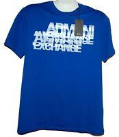 Armani Exchange Blue White Logo Cotton Men's T-Shirt Size XL Slim Fit