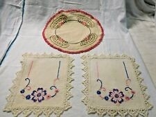 Antique Embroidered Linens ~ Textiles Pair Embroidered Linens Pink & Blue #1950