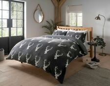 Stag Head Printed Teddy Fleece Duvet Cover Set with Pillow Case Bedding