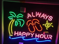 """New Always Happy Hour Palm Tree Neon Sign Beer Cub Gift Light Lamp Bar 24""""x20"""""""