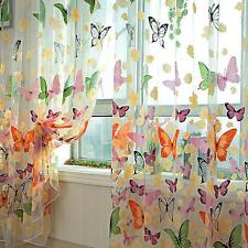 Floral Butterfly Sheers Curtains Voile Tulle Window Door Curtain Drapes Valance