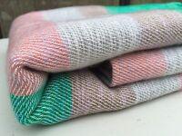 NEW BLANKET YAK WOOL THROW WRAP STRIPED MULTICOLOR WEAVE NEPAL SHAWL HANDMADE