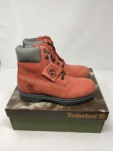"""Vintage Timberland 20378M Salmon/Gry 6"""" Laced Padded Ankle Boot Women's US 7.5"""