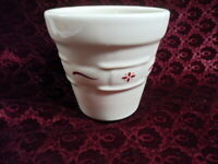 "***Longaberger Pottery Woven Traditions 4"" Flower Pot with red design"