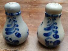 Vintage German Salt Glazed Stoneware Pottery Salt and Pepper mini shaker