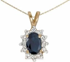 14k Yellow Gold Oval Sapphire and Diamond Pendant (no chain) (CM-P6410X-09)
