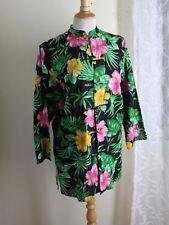 Ralph Lauren -Sz S Tropical Hibiscus Floral Asian Long Linen Tunic Shirt Top