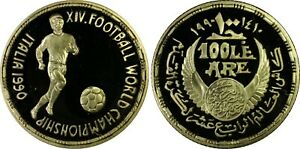 EGYPT , GOLD 100 POUNDS FOOTBALL WORLD CUP 1990 PCGS PR 68 DCAM , EXTREMELY RARE