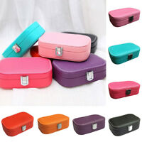 ITS- AU_ Jewelry Display Ring Earring Storage Organizer Travel Case with Mirror