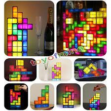 Novelty DIY Retro Game Style Puzzle Desk Lamp LED Tetris Constructible Light