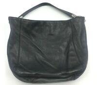 MK Michael Kors Purse  Leather Shoulder Handbag Bag Tote Black Silver Logo