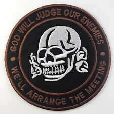 God Will Judge Our Enemies Skull Biker Iron On - Sew On Embroidered Patch N-316