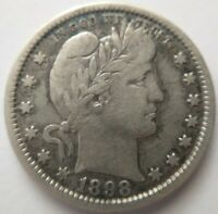 1898 Barber Quarter 25c Silver Fine F or Very Fine VF Dark Toning